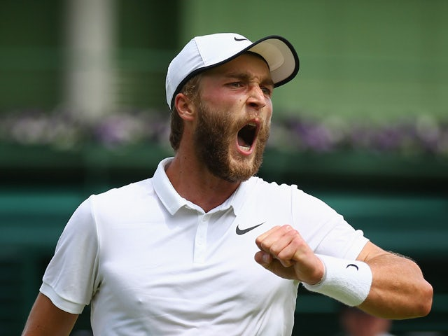 Liam Broady of Great Britain reacts during his match against Marinko Matosevic of Australia in their Gentlemen's Singles first round match during day one of the Wimbledon Lawn Tennis Championships at the All England Lawn Tennis and Croquet Club on June 29