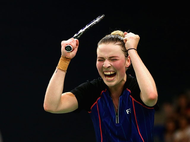 Line Kjaersfeldt of Denmark celebrates after winning against Lianne Tan of Belgium in the Badminton Women's Singles Final during day sixteen of the Baku 2015 European Games at Baku Sports Hall on June 28, 2015