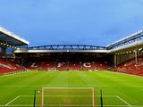 A general view of the stadium prior to kickoff during the UEFA Europa League Round of 32 match between Liverpool FC and Besiktas JK at Anfield on February 19, 2015