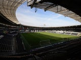 A general view of the KC Stadium is taken ahead of the English Premier League football match between Hull City and Chelsea in Kingston upon Hull, north east England on March 22, 2015
