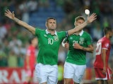 Robbie Keane of Republic of Ireland celebrates after scoring Ireland's 3rd goal during the UEFA EURO 2016 Qualifier between Gibraltar and Republic of Ireland at Estadio Algarve on September 4, 2015 in Faro, Portugal.