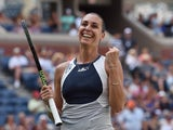 Flavia Pennetta of Italy celebrates match point against Petra Kvitova of the Czech Republic during their 2015 US Open Women's Singles - Quarterfinals at the USTA Billie Jean King National Tennis Center September 9, 2015