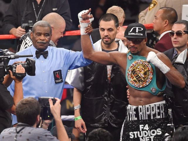 Badou Jack celebrates defeating George Groves on September 12, 2015