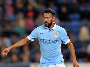 Gael Clichy of Manchester City controls the ball during the international friendly match between Melbourne City and Manchester City at Cbus Super Stadium on July 18, 2015