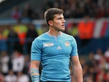 Tommaso Allen of Italy prepares to kick a conversion in the second half during the 2015 Rugby World Cup Pool D match between Italy and Canada at Elland Road on September 26, 2015 in Leeds England.