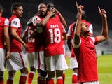 Braga's Egyptian forward Ahmed Hassan (R) celebrates after scoring a goal during the UEFA Europa League group F football match SC Braga vs FC Groningen at the Municipal stadium in Braga on October 1, 2015