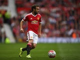 Juan Mata of Manchester United on the ball during the Barclays Premier League match between Manchester United and Sunderland at Old Trafford on September 26, 2015 in Manchester, United Kingdom.