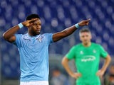 Eddy Onazi of SS Lazio celebrates after scoring the team's first goal during the UEFA Europa League group G match between SS Lazio and AS Saint-Etienne at Olimpico Stadium on October 1, 2015