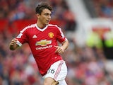 Matteo Darmian of Manchester United on the ball during the Barclays Premier League match between Manchester United and Sunderland at Old Trafford on September 26, 2015 in Manchester, United Kingdom.
