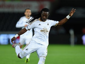 Swansea player Marvin Emnes in action during the Capital One Cup Second Round match between Swansea City and York City at Liberty Stadium on August 25, 2015
