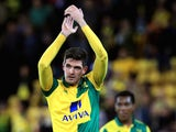 Kyle Lafferty of Norwich City celebrates victory after the Capital One Cup Third Round match between Norwich City and West Bromwich Albion at Carrow Road on September 23, 2015 in Norwich, England.