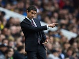 Remi Garde, Manager of Aston Villa gestures during the Barclays Premier League match between Aston Villa and Manchester City at Villa Park on November 8, 2015 in Birmingham, England.