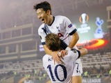 Harry Kane of Tottenham Hotspur FC is congratulated on scoring the opening goal by Son Heung-min during the UEFA Europe League match between Qarabag FK and Tottenham Hotspur FC at Tofig Bahramov Republican stadium on November 26, 2015 in Baku, Azerbaijan.