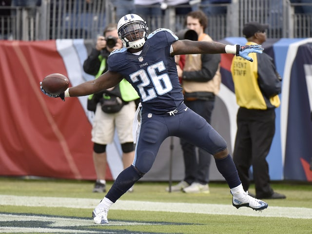 Antonio Andrews #26 of the Tennessee Titans celebrates after scoring a touchdown against the Jacksonville Jaguars during the game at Nissan Stadium on December 6, 2015