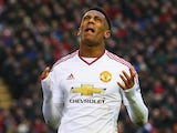 Anthony Martial of Manchester United reacts after failing to score during against Liverpool at Anfield on January 17, 2016