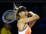 Maria Sharapova of Russia plays a forehand in her second-round match against Aliaksandra Sasnovich of Belarus during day three of the 2016 Australian Open  on January 20, 2016