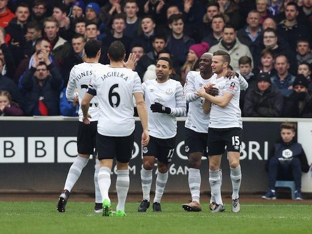 Arouna Kone celebrates scoring the opener during the FA Cup game between Carlisle and Everton on January 31, 2016