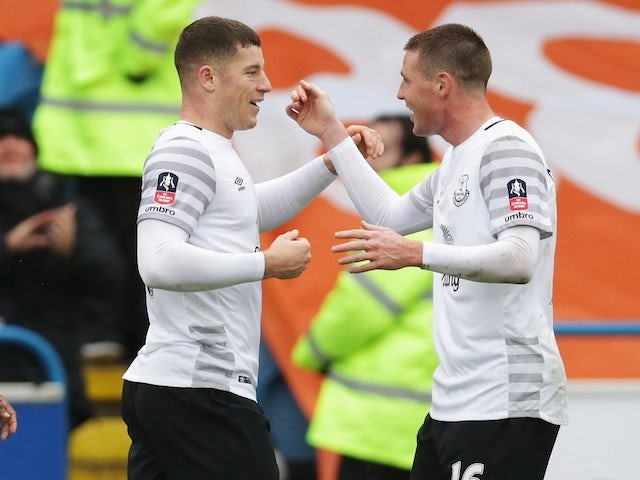Ross Barkley celebrates with James McCarthy during the FA Cup game between Carlisle and Everton on January 31, 2016