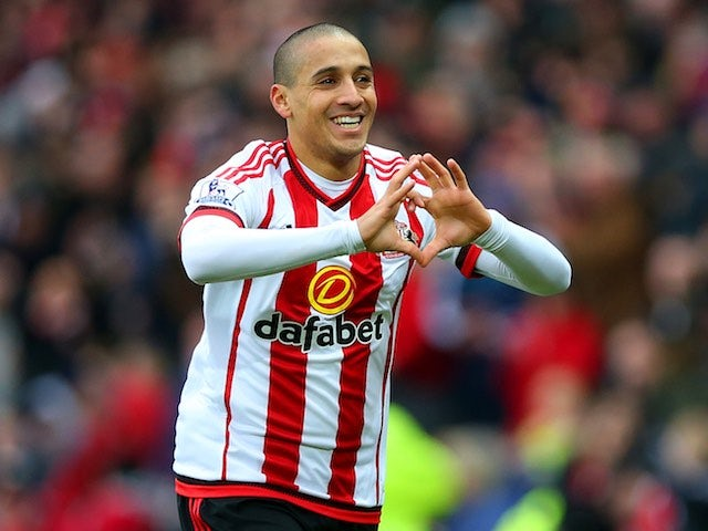Wahbi Khazri channels Gareth Bale after scoring during the Premier League game between Sunderland and Manchester United on February 13, 2016