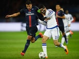 Thiago Silva and Diego Costa in action during the Champions League encounter between Paris Saint-Germain and Chelsea on February 16, 2016