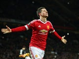 Ander Herrera celebrates scoring during the Europa League game between Manchester United and FC Midtjylland on February 25, 2016