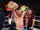 Carl Frampton celebrates defeating Scott Quigg on February 27, 2016