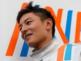 Team Manor's Rio Haryanto gives a press conference at the Circuit de Catalunya on February 24, 2016