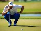 Sergio Garcia lines up a putt on the eighth green during the first round of the Honda Classic on February 25, 2016