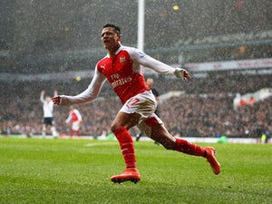 Alexis Sanchez celebrates his equaliser during the Premier League game between Tottenham Hotspur and Arsenal on March 5, 2016