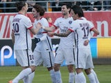 Zlatan Ibrahimovic, Javier Pastore, Adrien Rabiot and Angel di Maria celebrate during the Ligue 1 game between Troyes and Paris Saint-Germain on March 13, 2016