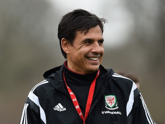 Chris Coleman leads a Wales training session on March 22, 2016