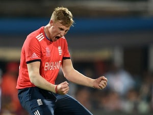 Joe Root celebrates the wicket of Johnson Charles during the World Twenty20 final between England and the West Indies at Eden Gardens on April 3, 2016