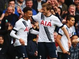 Eric 'razor' Dier congratulates Dele Alli during the Premier League game between Tottenham Hotspur and Manchester United on April 10, 2016