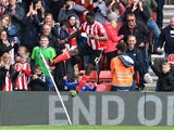 Victor Wanyama celebrates scoring during the Premier League match between Southampton and Newcastle United on April 9, 2016