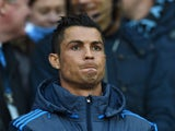 Real Madrid's Cristiano Ronaldo watches on from the sidelines during his side's Champions League semi-final first leg against Manchester City on April 26, 2016