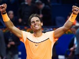 Rafael Nadal of Spain celebrates defeating Kei Nishikori of Japan in the final match during day seven of the Barcelona Open Banc Sabadell at the Real Club de Tenis Barcelona on April 24, 2016