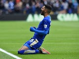 Riyad Mahrez celebrates scoring the opening goal during the Premier League match between Leicester City and Swansea on April 24, 2016