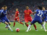 Liverpool striker Daniel Sturridge threads the ball through the eye of a Nemanja Matic and Willian-shaped needle during their Anfield clash with Chelsea on May 11, 2016