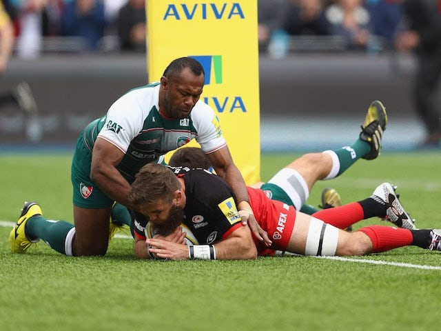 Will Fraser scores during the Aviva Premiership semi-final between Saracens and Leicester Tigers on May 21, 2016