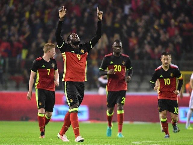 Romelu Lukaku celebrates scoring during the international friendly between Belgium and Finland on June 1, 2016
