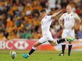 Owen Farrell kicks a penalty during the international Test match between the Australian Wallabies and England at Suncorp Stadium on June 11, 2016