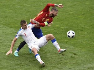 Tomas Necid and Sergio Ramos in action during the Euro 2016 Group D game between Spain and Czech Republic on June 13, 2016