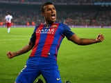 Rafinha celebrates scoring for Barcelona during their La Liga clash with Granada at the Camp Nou on October 29, 2016