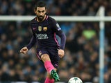 Arda Turan of Barcelona in action during his side's Champions League clash with Manchester City at the Etihad Stadium on November 1, 2016