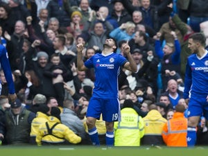 Diego Costa celebrates scoring during the Premier League game between Manchester City and Chelsea on December 3, 2016