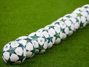A large set of balls are seen ahead of the Champions League game between Manchester City and Celtic on December 6, 2016
