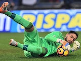 Gianluigi Donnarumma in action during the Serie A game between Roma and Milan on December 12, 2016