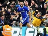 Diego Costa celebrates scoring during the Premier League game between Chelsea and Stoke City on December 31, 2016