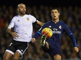 Aymen Abdennour and Cristiano Ronaldo in action during the game between Valencia and Real Madrid on January 3, 2016