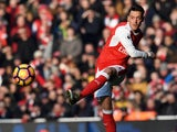 Mesut Ozil in action during the Premier League game between Arsenal and Burnley on January 22, 2017